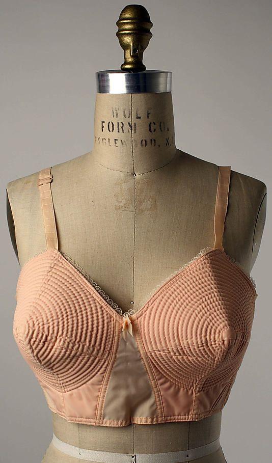 "Peach synthetic fabric cone-shaped brassiere, by F.B.R., Italian, 1950s. Label: ""F.B.R./Milano"""