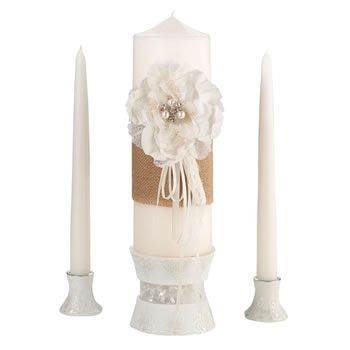 Lillian+Rose+Rustic+Burlap+&+Lace+Candle+Set