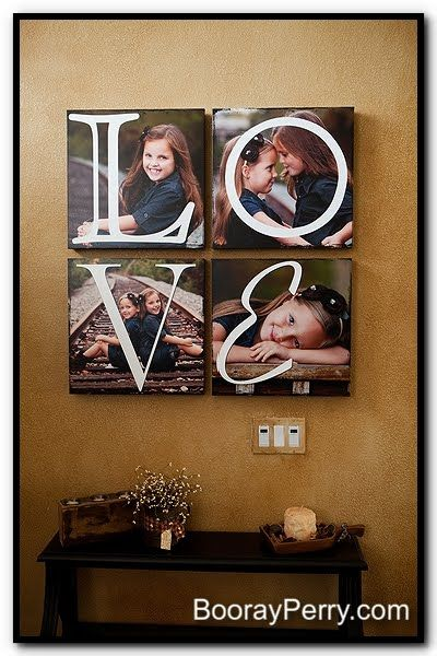 Incorporate letters into photo canvases  Oh wow I love the letters over the pictures.