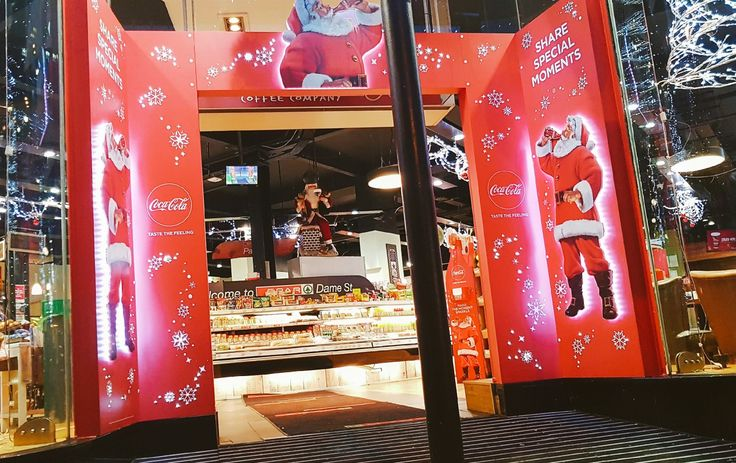 Coca Cola shop front arch for Christmas with LED lighting coke #wedoevents #eventprofs #holidaysarecoming