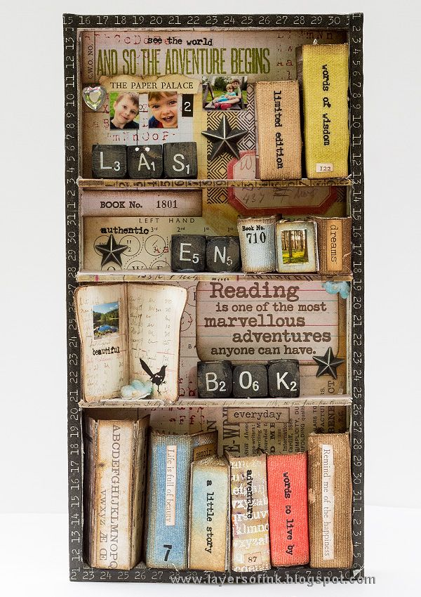 Layers of ink - Miniature Bookshelf with Handmade Books Tutorial by Anna-Karin. Made for the Simon Says Stamp Monday Challenge Blog, with Tim Holtz idea-ology embellishments and papers, Stamper's Anonymous stamps and a Sizzix die. Quote stamp by Darkroom Door.