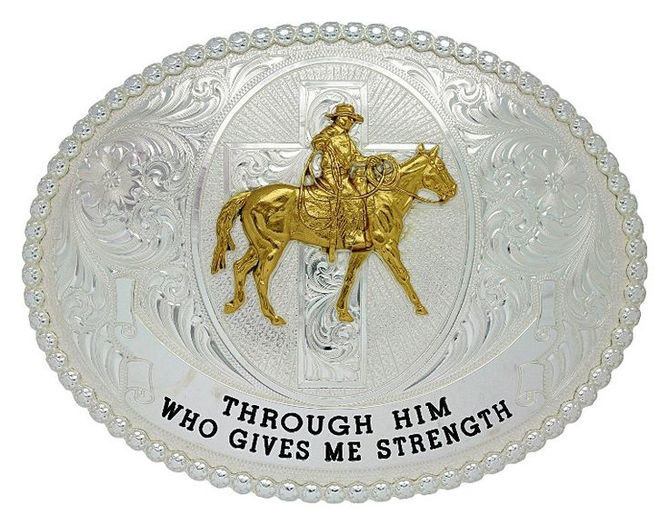 """""""Riding with Strength"""" Western Belt Buckle"""