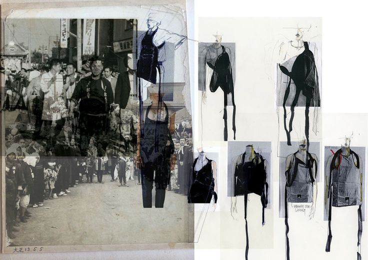 Fashion Sketchbook - fashion design research and sketches - creative process; fashion portfolio layout - Ruri Watanabe