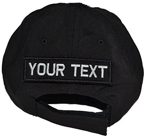 USA Made Tactical Operator Cap with Custom Text 1x375 Patch Adjustable Black -- Want additional info? Click on the image.