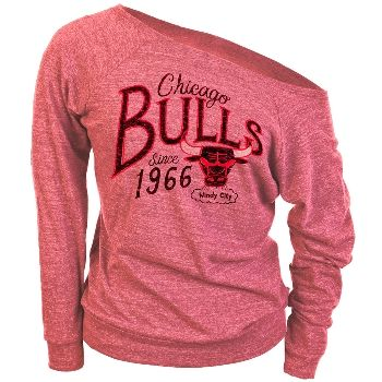 This is the perfect weekend shirt. In a soft tri-blend fabric, this Chicago Bulls red heather long sleeve shirt with a wide neck has the basketball team's name and logo in a semi-transparent, distressed print. Banded wrists and hem add a little warmth to this comfy casual top.