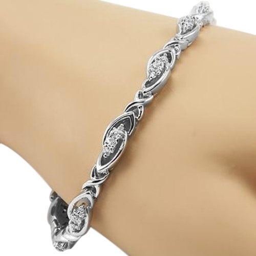 0.15Ct Sterling Silver Genuine Diamond Tennis Bracelet 7 Inch $139.99