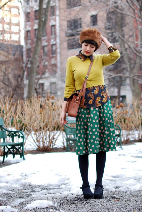 Love how she mixes prints and textures together and is able to pull it off