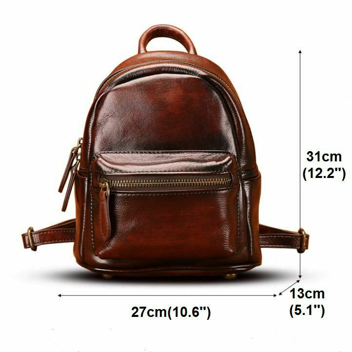 New Women/'s Genuine Real Cow Leather Backpack Travel Bag Handbag Fashion Black