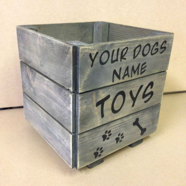 Small Solid Wood Dog Toy Box - Hand Made, Solid, Rustic, Gift PERSONALISED