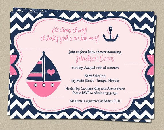 nautical chevron baby shower invitations for girl in pink navy with