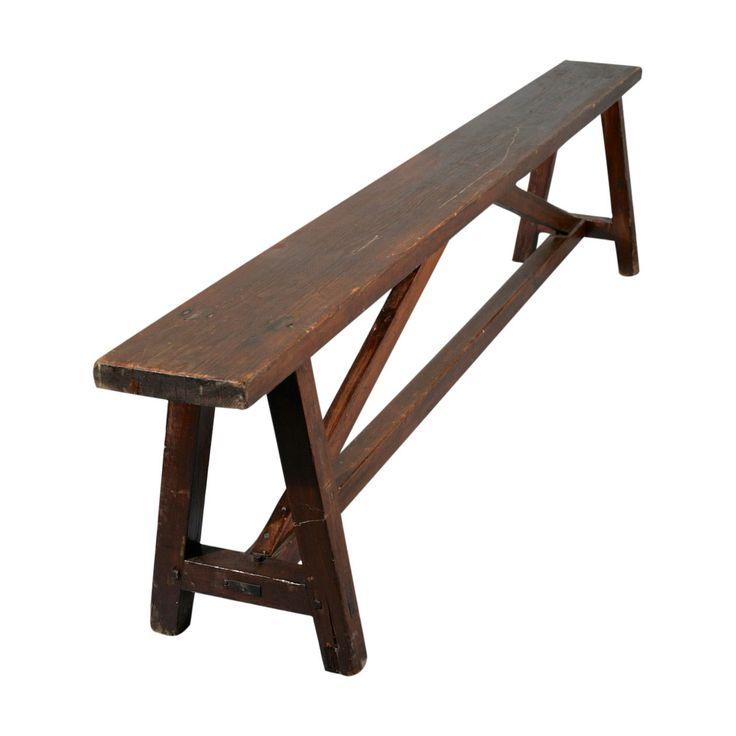 Vintage Wooden Pine Bench