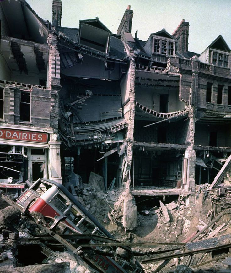Bus in a crater, London, 1940