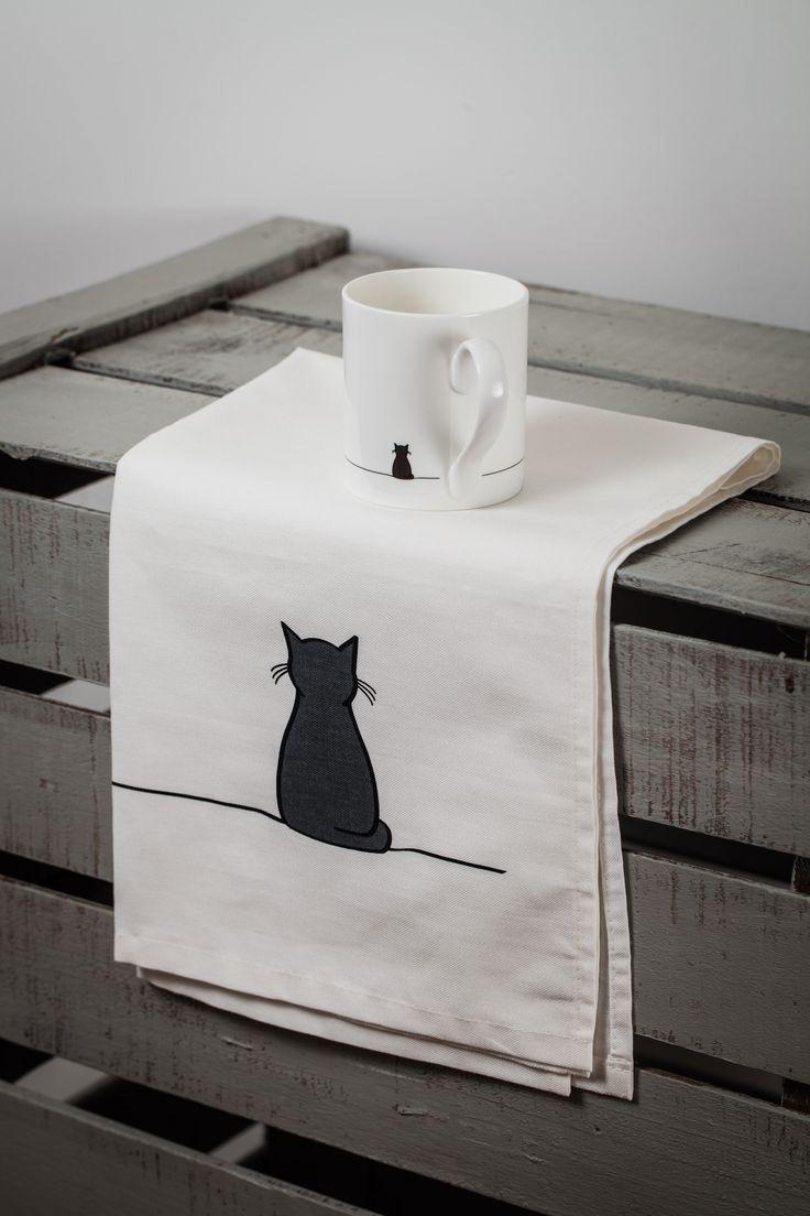 Sitting Cat Mug and Tea Towel - by Jin Designs