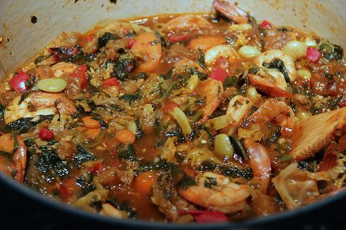 Haitian legume with Shrimp