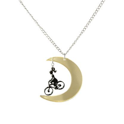 KUU Moon and the Lady on the bicycle long necklace black
