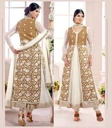 Buy White embroidered Georgette unstitched salwar with dupatta wedding-salwar-kameez online