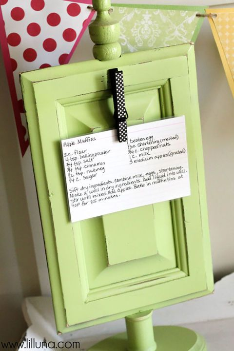 Attach a patterned clothespin to an elevated wooden frame to make a recipe holder that'll keep mom's favorite recipe cards out of the splatter zone.