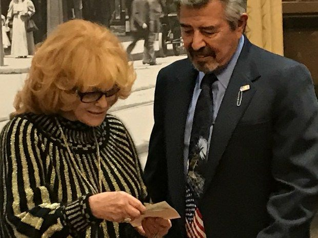 Singer actress Ann-Margret meets with Vietnam war veteran David Garcia of Colorado on Dec. 4, 2016.