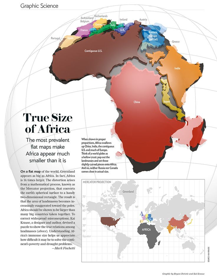 Africa Dwarfs China, Europe and the U.S. The most prevalent flat maps make Africa appear much smaller than it is. Damn you, Mercator!