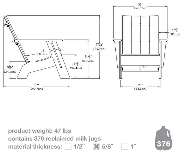 4-ламелей Стандартный Адирондак современные стулья на открытом воздухе