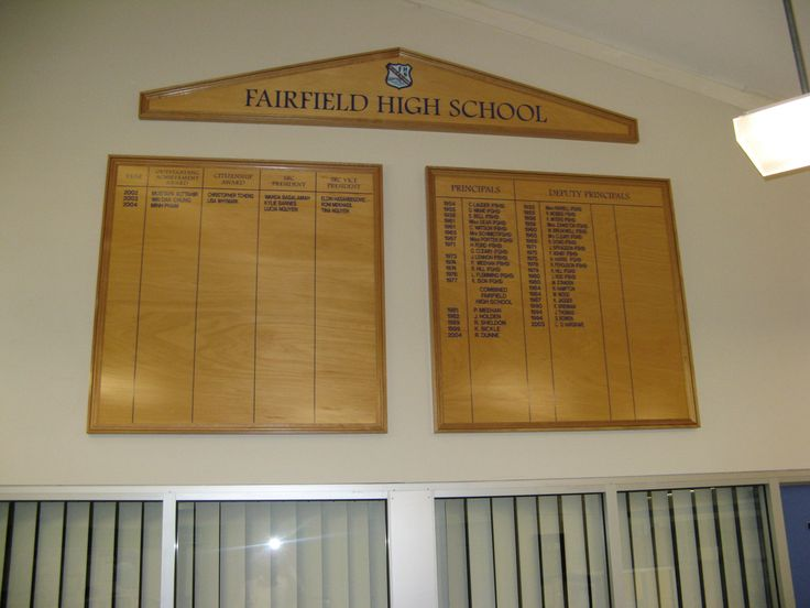 Fairfield High School #honourboards #CSI #school #signs #signage #wood #board #name #recognition