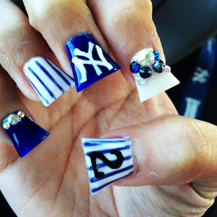 45 best New York Yankees Nails, Hair, & Make-up images on Pinterest ...