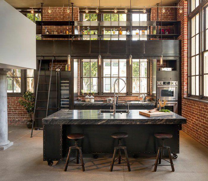 kücheneinrichtung industriell rote ziegel barhocker kücheninsel coole pendelleuchten
