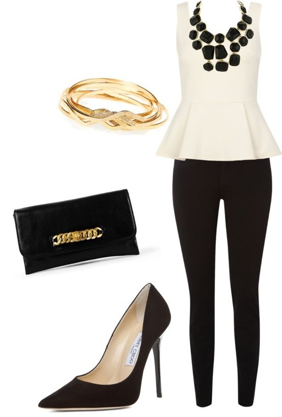 Classy black and white outfit with gold accents. Wish I could be wearing this like, TODAY. minus the shoes