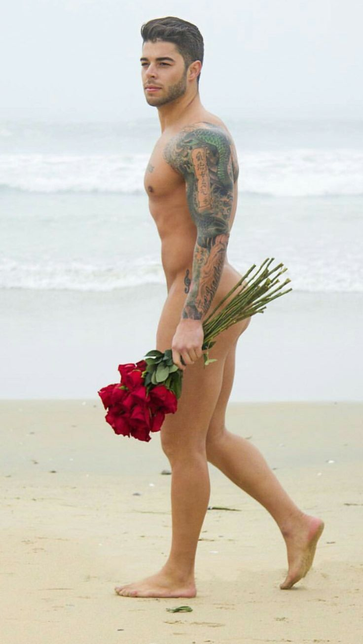 naked men with lflowers