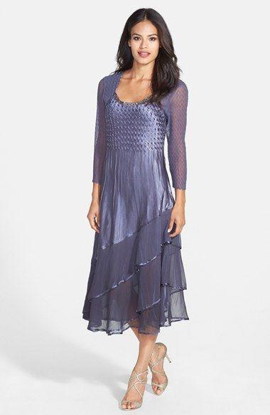 Komarov Embellished Charmeuse & Chiffon Midi Dress (Regular & Petite) available at #Nordstrom