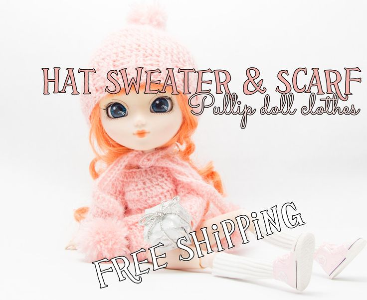 Blythe doll clothes, Pullip doll clothes, sweater hat scarf, pink, pullip, blythe, clothes, crochet clothes, crochet pullover, hat, scarf by Theordinarydiary on Etsy