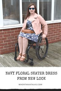 Navy Floral Skater Dress | Wheelchair Fashion | Want to see how I style a navy floral skater dress? This post is is the one for you! Perfect for wheelchair users and non-users alike.