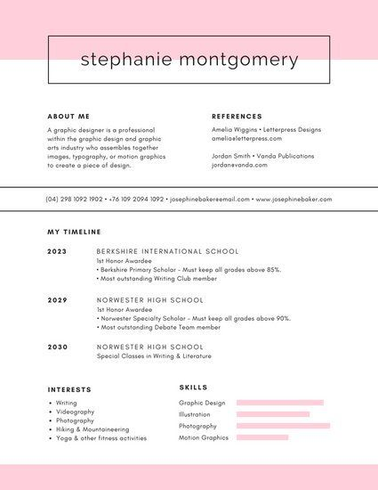 Pink and White Feminine Minimalist College Resume