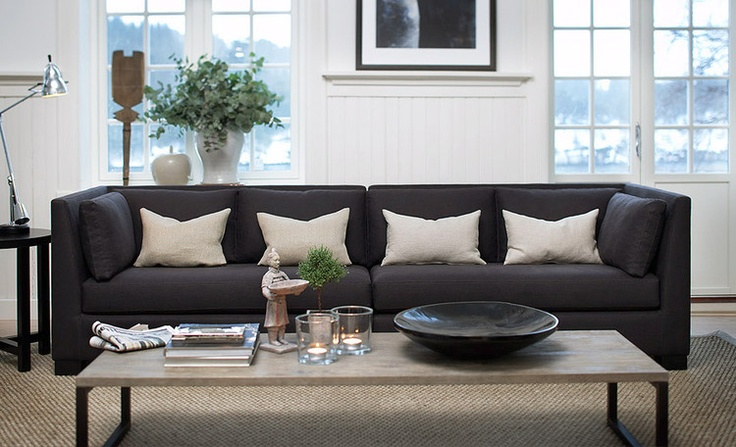 Dark Charcoal Grey Accents With White And Beige Living
