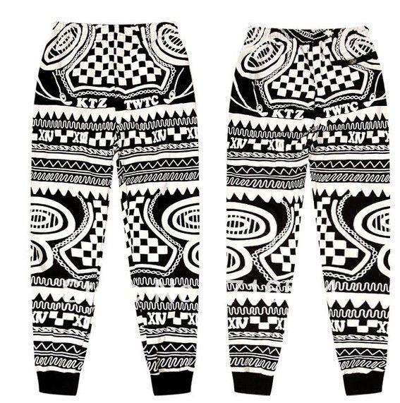 wholesale/retail men jogger pants 2013 print harem pants plaid pants famous brand ktz gd boy london baggy sweatpants for men-in Pants from A...