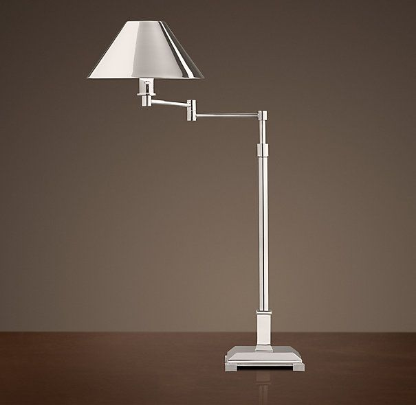 Candlestick swing arm table lamp polished nickel with metal shade