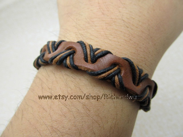 """Men's Leather Bracelet made for brown leather cord and cotton rope Cowboy Cuff Bracelet LL805. $3.00, via Etsy."""