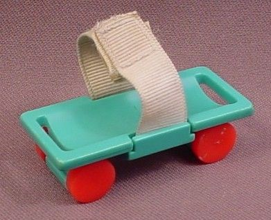 Fisher Price Vintage Turquoise Stretcher Gurney with Red Wheels & Velcro Straps