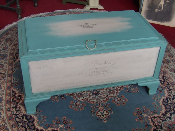 Beautifully painted blanket box / ottoman, Measures H47cm, W92cm, D46cm, View at The Recycled Goods Factory open 7 days a week -  01903 753377