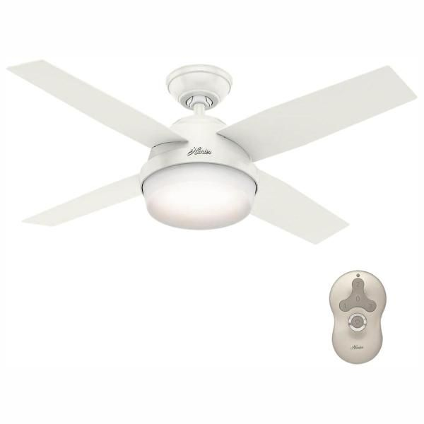 Hunter Dempsey 44 In Led Indoor Brushed Nickel Ceiling Fan With Universal Remote 59245 The Home Depot In 2020 White Ceiling Fan Ceiling Fan White Ceiling