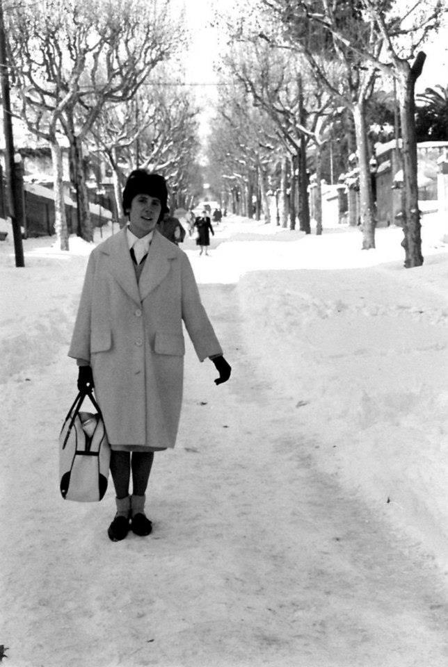 Fotografia cedida per l'Arxiu Municipal de Barcelona en el marc dels 50 anys de la gran nevada de 1962.