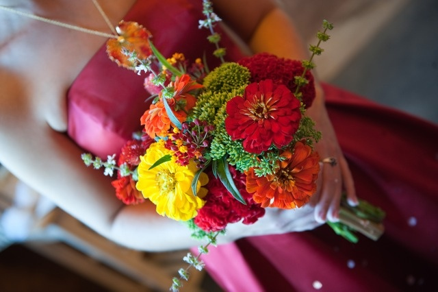 August Bridesmaid Bouquet by Local Color Flowers Baltimore, via Flickr  A colorful bouquet filled with local zinnias, asclepias, sedum, coxcomb and basil.