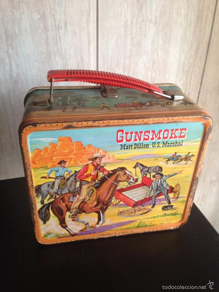 Juguetes antiguos y Juegos de colección: MALETIN O FIAMBRERA GUNSMOKE,ALADDIN…