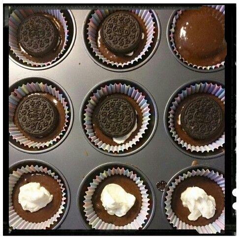 Mina blivande oreokake muffins med philadelphiaost.