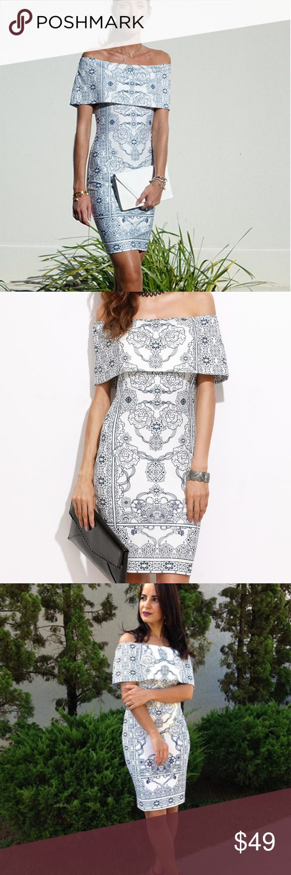 Print Dress Size XS S M L in inches Shoulder: XS 15.4-22.2; S 15.7-22.6; M 16.1-23.0; L 16.5-23.0  Bust: XS 30.3; S 31.9; M 33.5; L 35.0  Waist Size: XS 25.2; S 26.8; M 28.3; L 29.9  Hip Size: XS 32.5;  S 34.1; M 35.6; L 37.2  Length: XS 29.3; S 29.7; M 30.1; L 30.5   Material: 95% Polyester, 5% Spandex   Color: White, Multicolor   Pattern Type: Tribal Print   Neckline: Off the Shoulder   Style: Sexy, Elegant   Silhouette: Bodycon   Sleeve Length: Short Sleeve   Fabric: stretchy  Processing…
