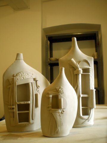 air dry clay over plastic bottles!