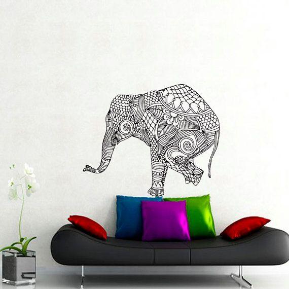 Wall Decals Elephant Indian Pattern Yoga Decal Vinyl Sticker Decor Home Interior Design Murals Bedroom Dorm Window MN413