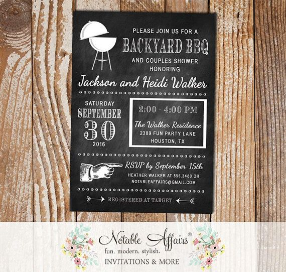 Backyard BBQ Modern Chalkboard baby shower couples shower engagement party Baby Q Barbecue party etc invitation - any event by NotableAffairs