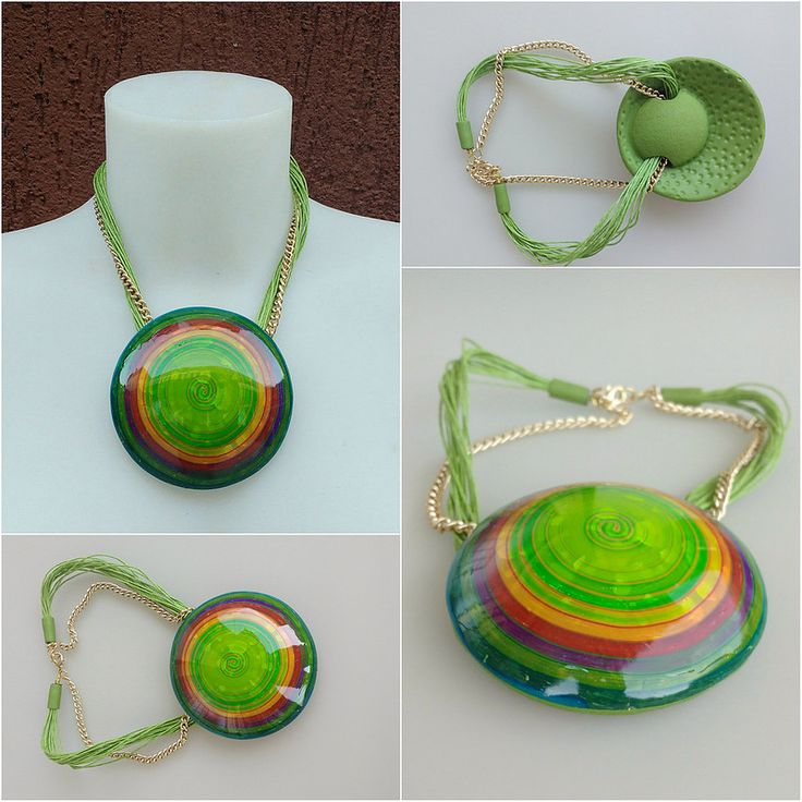 Big & bold pendant. Playing with alcohol inks and translucent clay. Tutorial Vortex effect by Veesuel   by Dev'Art60