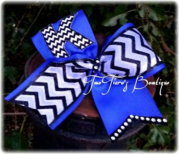 Two Tiara's Bowtique original Initial Chevron tick tock cheer bow for the CheerLEADER of the month for Twist and Shout Norman.  By Two Tiara's Bowtique on Etsy or Facebook group for more options and recent updates!